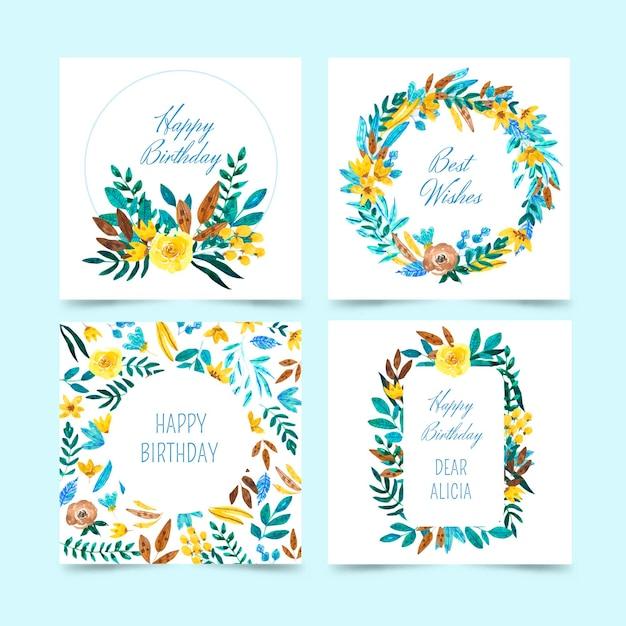Kolekcja Kart Urodzinowych Z Kwiatami Darmowych Wektorów