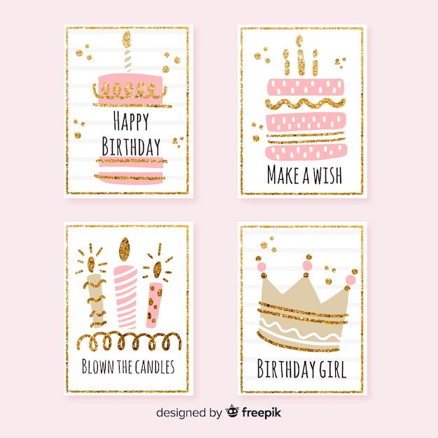 Kolekcja kart urodzinowych Darmowych Wektorów