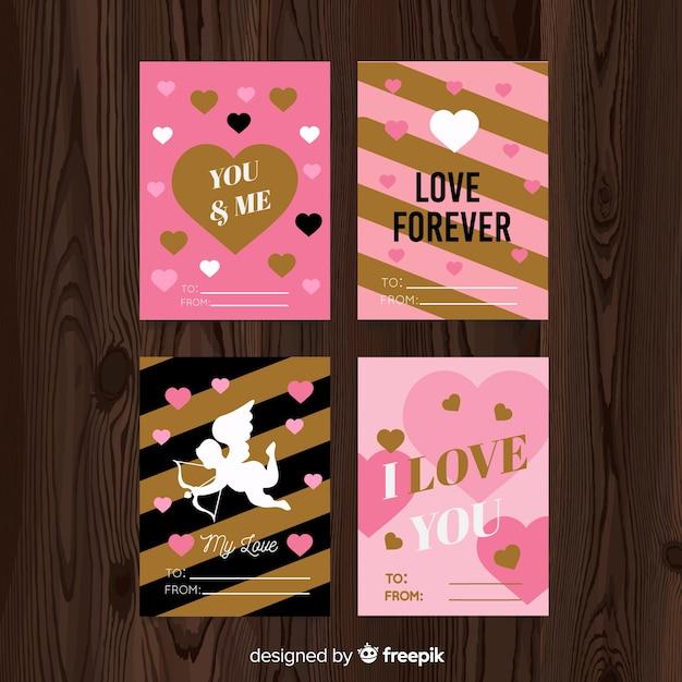 Kolekcja kart valentine Darmowych Wektorów