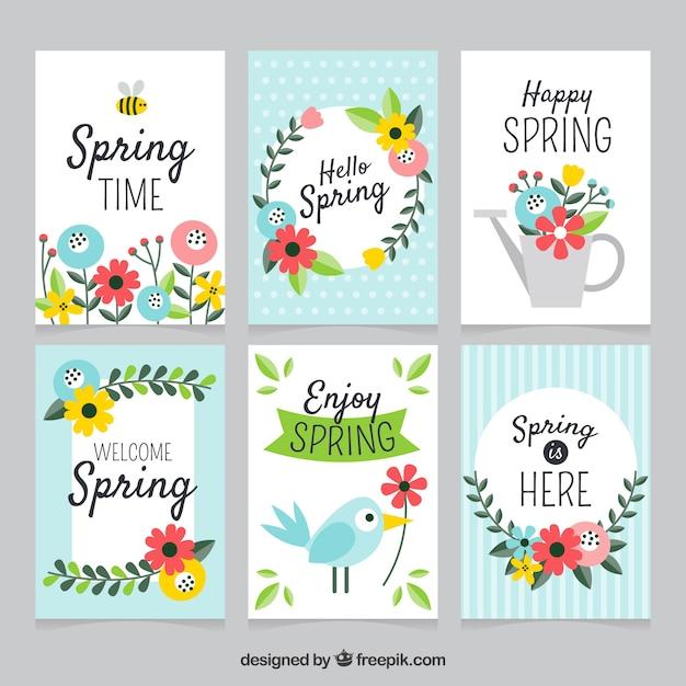 Kolekcja kart wiosennych Darmowych Wektorów