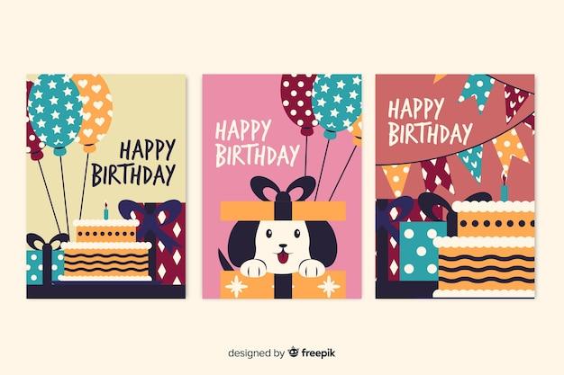 Kolekcja kart z okazji urodzin Darmowych Wektorów