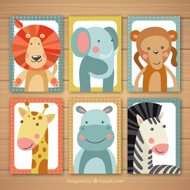 Kolekcja kart z pięknymi dzikimi zwierzętami Darmowych Wektorów