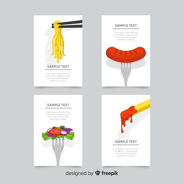 Kolekcja kart z płaskim żywności Darmowych Wektorów