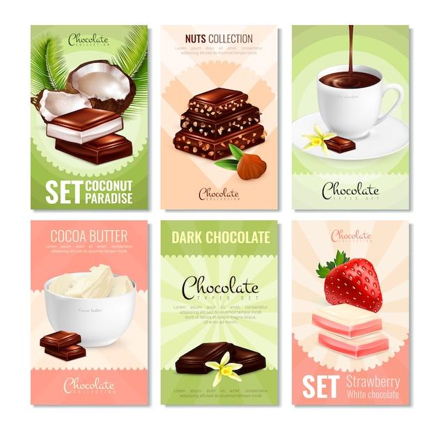 Kolekcja kart z produktami kakaowymi Darmowych Wektorów