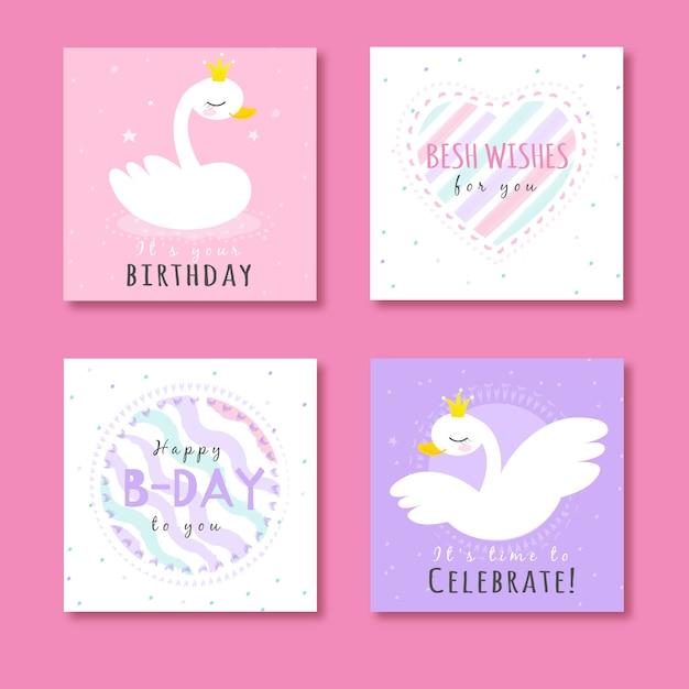 Kolekcja kart ze zwierzętami na przyjęciu urodzinowym Premium Wektorów