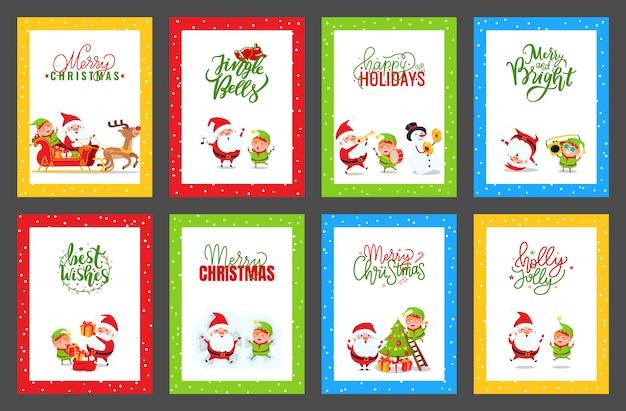 Kolekcja kartek świątecznych z cute śnięty mikołaj Premium Wektorów