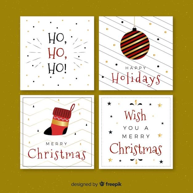 Kolekcja Kartki świąteczne Pozdrowienia Płaskie Darmowych Wektorów