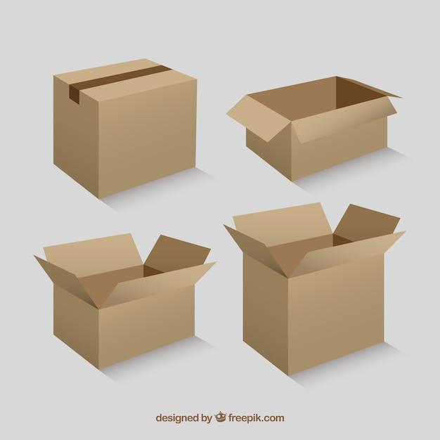 Kolekcja Kartonów Do Wysyłki Darmowych Wektorów