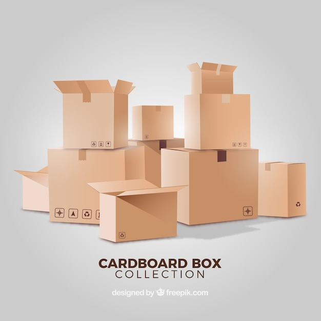 Kolekcja kartonów w realistycznym stylu Darmowych Wektorów