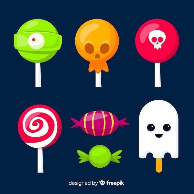 Kolekcja kolekcji cukierków halloween na płaska konstrukcja Darmowych Wektorów