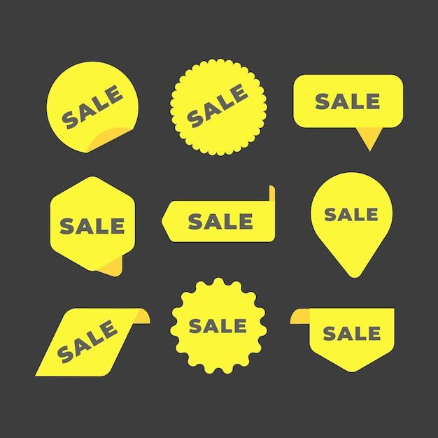 Kolekcja kolekcji żółtych etykiet sprzedaży Darmowych Wektorów