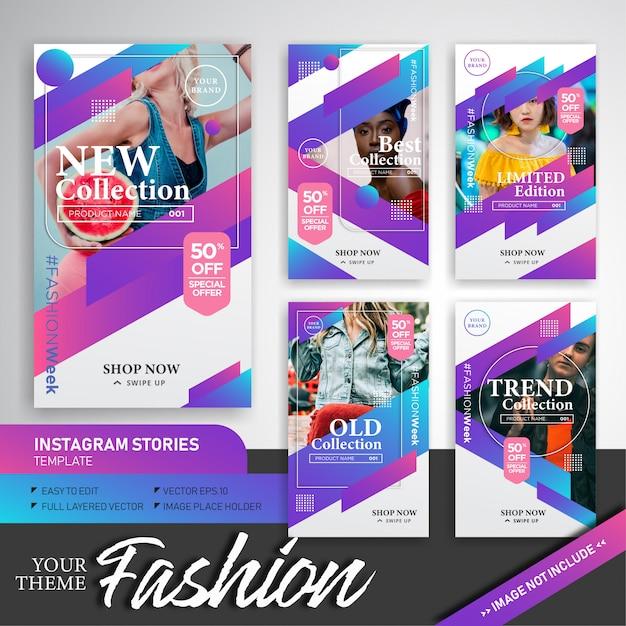 Kolekcja kolorowa moda szablon historie instagram Premium Wektorów