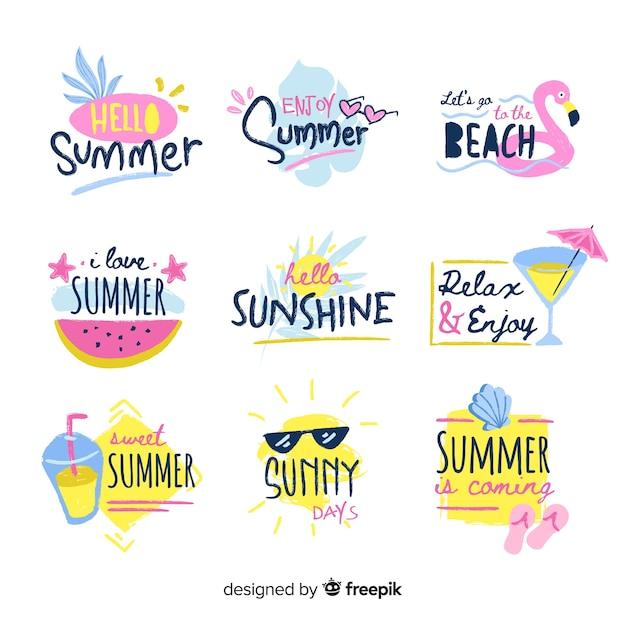 Kolekcja kolorowe ręcznie rysowane odznaka lato Darmowych Wektorów