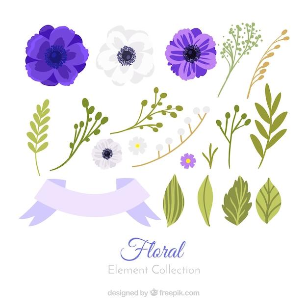 Kolekcja Kolorowy Kwiatowy Element Z Płaska Konstrukcja Darmowych Wektorów