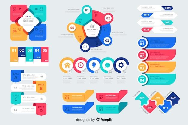 Kolekcja kolorowych elementów infographic Darmowych Wektorów
