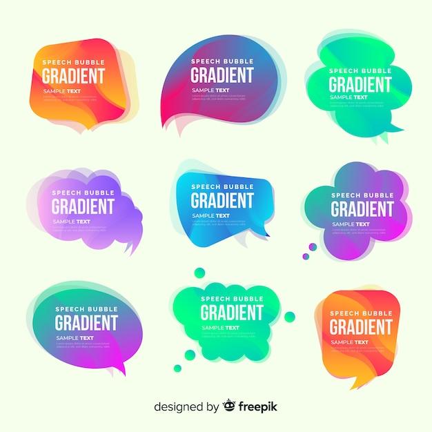 Kolekcja kolorowych gradientu dymek Darmowych Wektorów