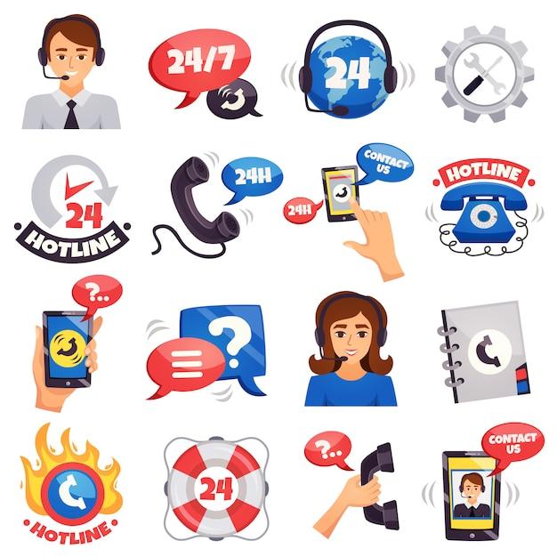 Kolekcja kolorowych ikon call center Darmowych Wektorów