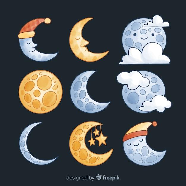 Kolekcja kolorowych księżyca akwarela Darmowych Wektorów