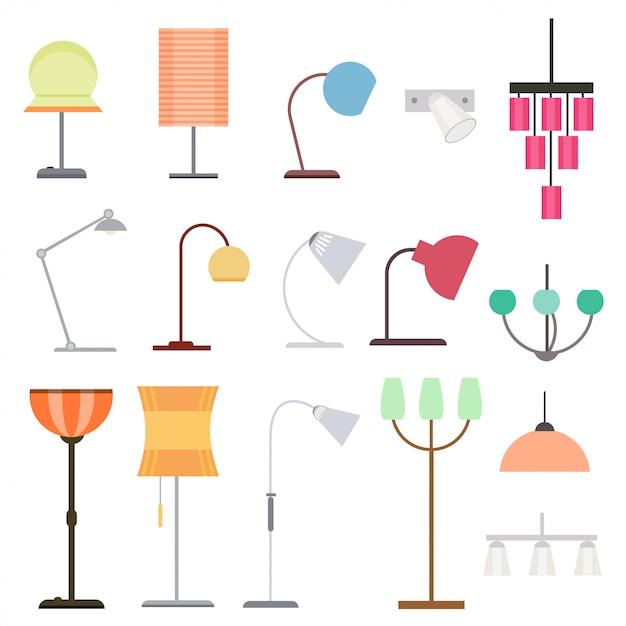 Kolekcja Kolorowych Lamp Do Wnętrz Darmowych Wektorów