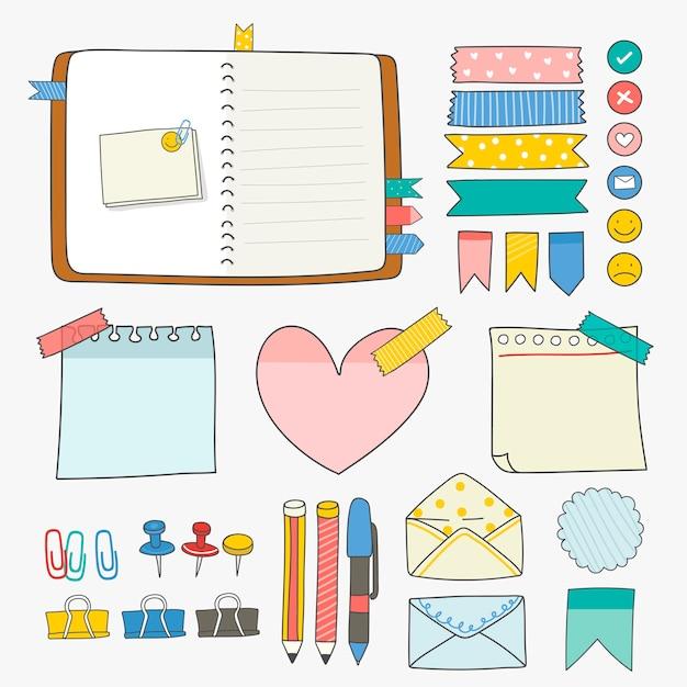 Kolekcja kolorowych materiałów biurowych Darmowych Wektorów
