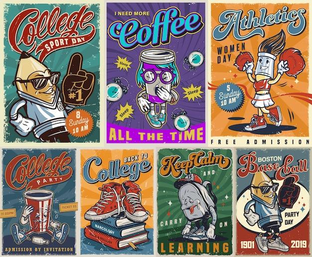Kolekcja Kolorowych Plakatów Vintage Uczelni Darmowych Wektorów