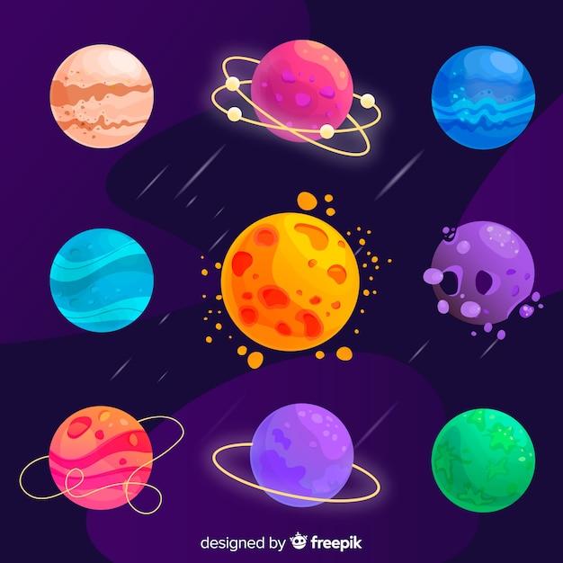Kolekcja Kolorowych Różnych Planet Płaskich Darmowych Wektorów