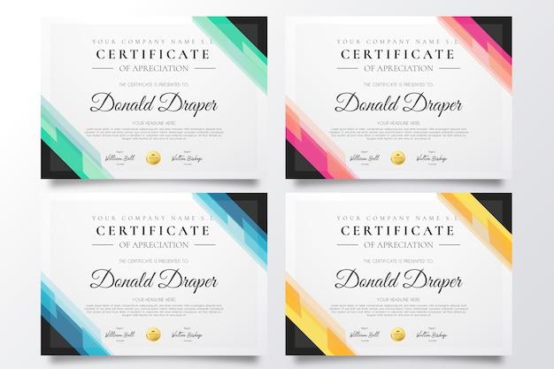 Kolekcja kolorowych szablonów certyfikatów Darmowych Wektorów