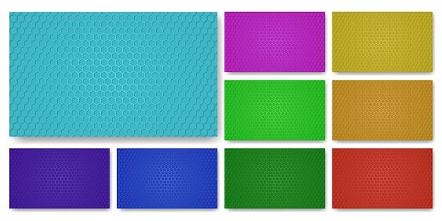 Kolekcja Kolorowych Tekstur. Kolorowy Zestaw Tekstur Z Włókna Węglowego. Premium Wektorów