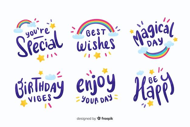 Kolekcja kolorowych urodzinowych naklejek Darmowych Wektorów