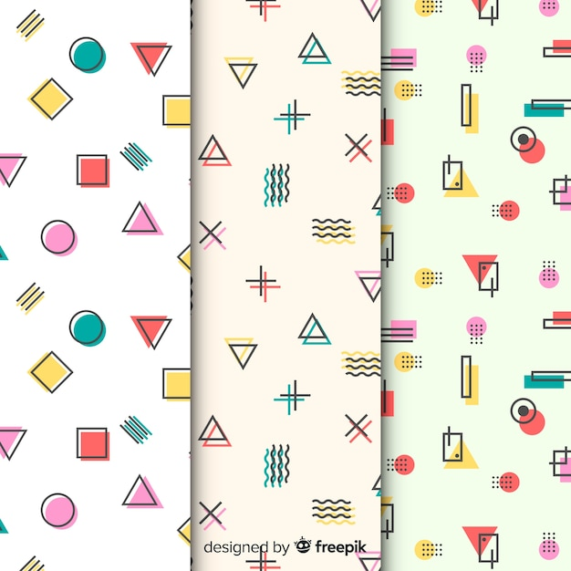 Kolekcja kolorowych wzorów memphis Darmowych Wektorów