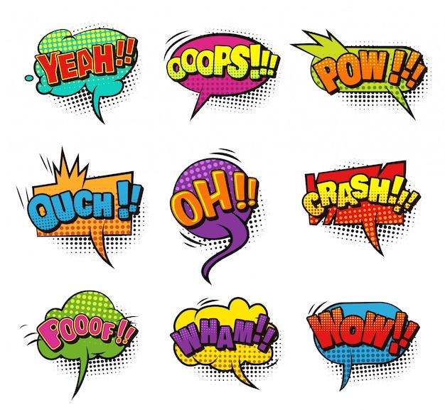 Kolekcja Komiksowych Kolorowych Pustych Dymków Z Efektami Humorystycznymi Dźwięku I Półtonów Darmowych Wektorów