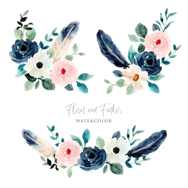 Kolekcja Kompozycji Akwarelowych Kwiatów I Piór Premium Wektorów