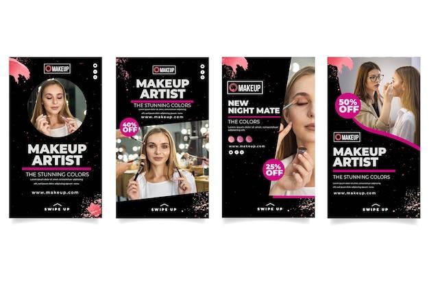 Kolekcja Kosmetycznych Opowiadań Na Instagramie Premium Wektorów