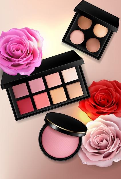 Kolekcja Kosmetyków Do Powiek, Błyszczyków I Różu Premium Wektorów
