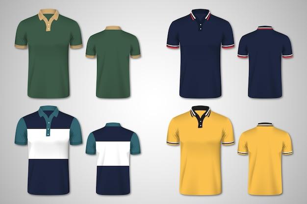 Kolekcja Koszulek Polo Z Przodu Iz Tyłu Premium Wektorów