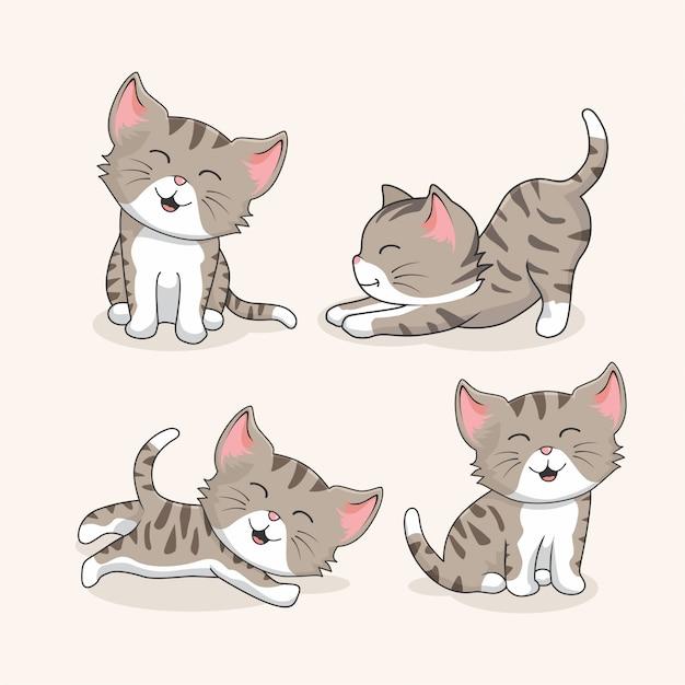 Kolekcja Kot Kreskówka Premium Wektorów