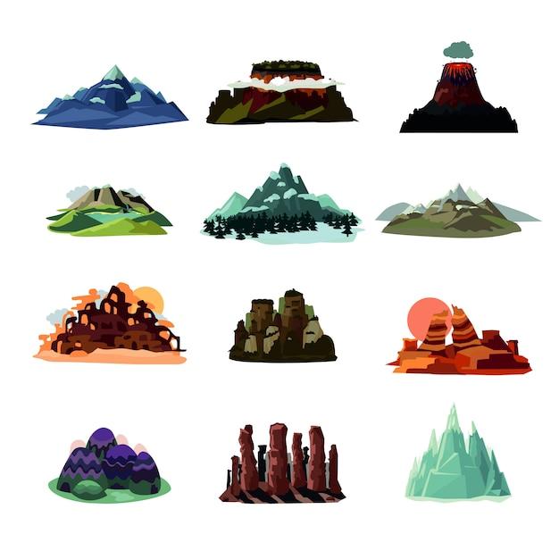 Kolekcja Krajobrazy Górskie Darmowych Wektorów
