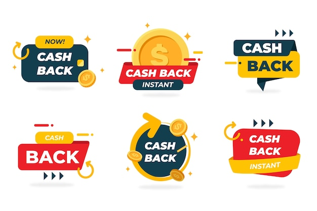Kolekcja Kreatywnych Etykiet Cashback Darmowych Wektorów