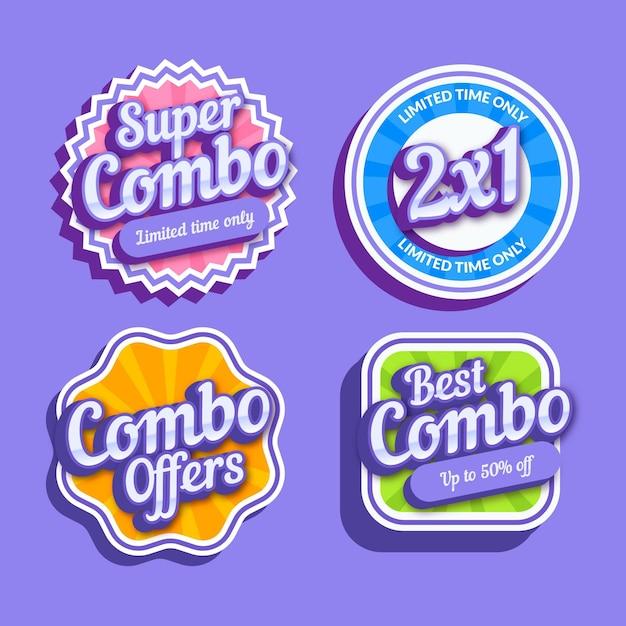 Kolekcja Kreatywnych Kombinacji Oferuje Etykiety Premium Wektorów