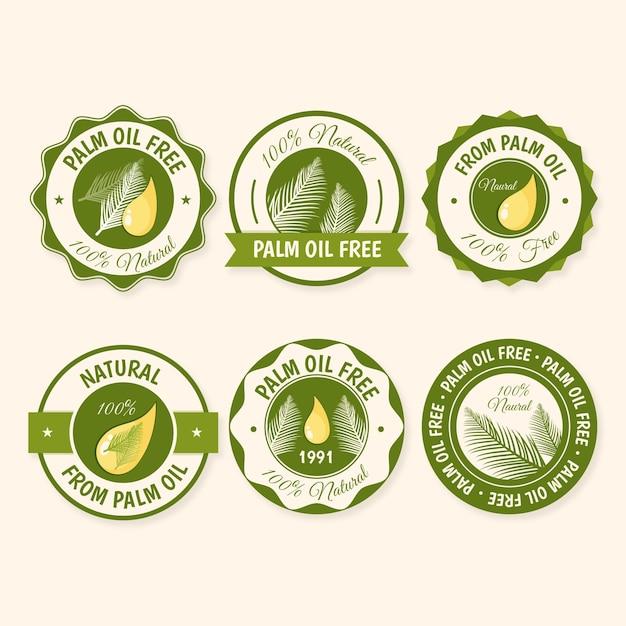 Kolekcja Kreatywnych Odznak Oleju Palmowego Darmowych Wektorów