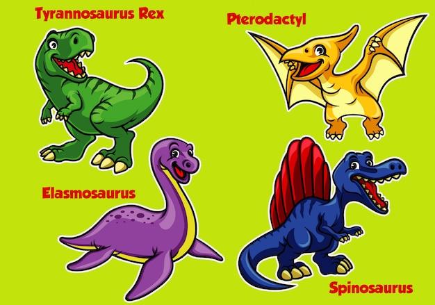 Kolekcja kreskówek dla dzieci dinozaurów Premium Wektorów