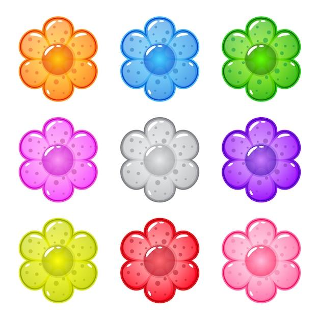 Kolekcja Kreskówka Błyszczący Kształt Kwiatów Z Galaretką W Różnych Kolorach. Premium Wektorów