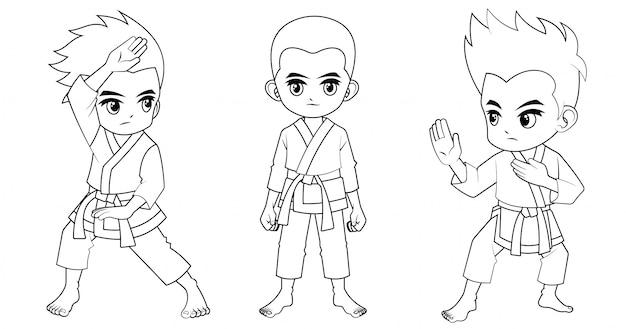 Kolekcja Kreskówka Karate Dziecko Używane Do Kolorowanka Premium Wektorów