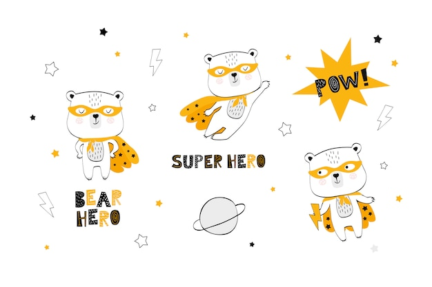 Kolekcja Kreskówka Niedźwiedź Superbohatera Premium Wektorów