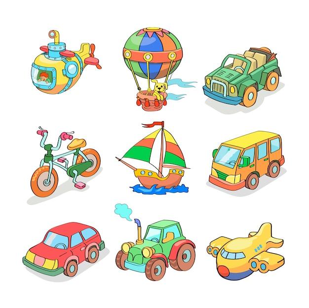 Kolekcja kreskówka transportu - kolorowe Premium Wektorów