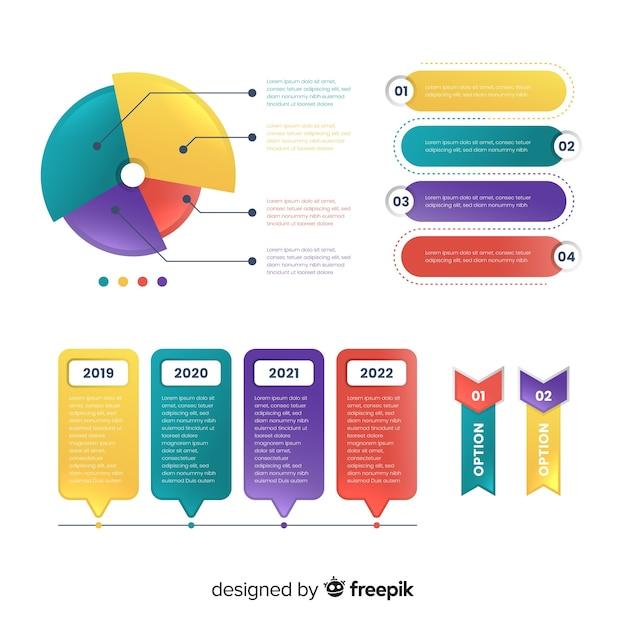 Kolekcja kroki płaski kolorowy infographic Darmowych Wektorów