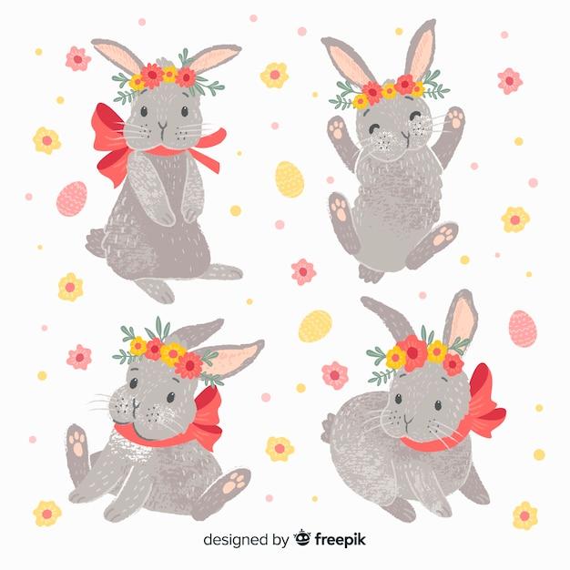 Kolekcja króliczek wielkanocny Darmowych Wektorów