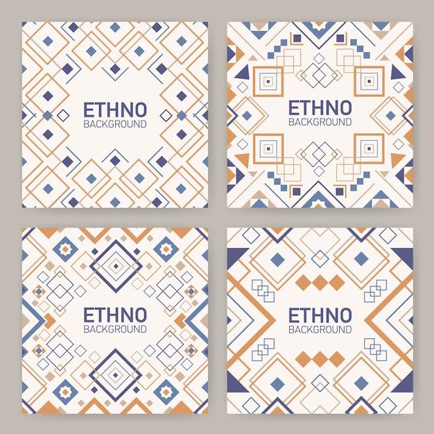 Kolekcja Kwadratowych Tła Z Tradycyjnymi Geometrycznymi Ornamentami Azteckimi, Ozdobnymi Ramkami Lub Ramkami. Premium Wektorów