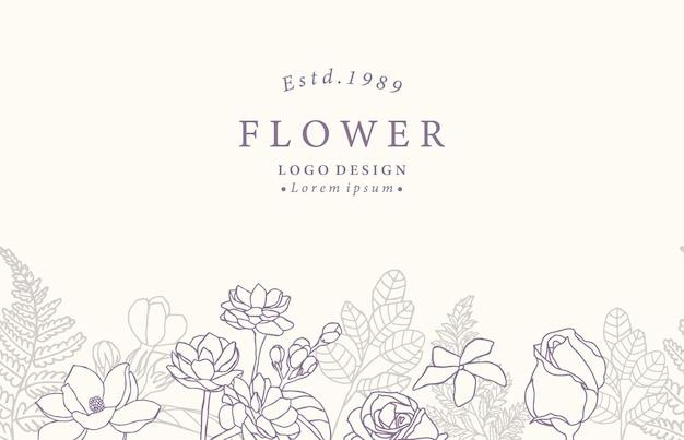 Kolekcja Kwiat Tła Z Jaśminu, Róży Premium Wektorów