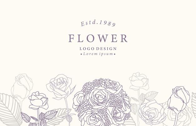 Kolekcja Kwiat Tła Z Lawendy, Róży. Premium Wektorów